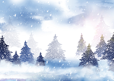 white snowflakes winter forest snow background