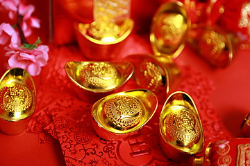 chinese new year element gold ingot red background