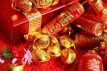 chinese new year element red background