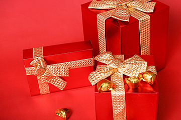 chinese new year red gift box background