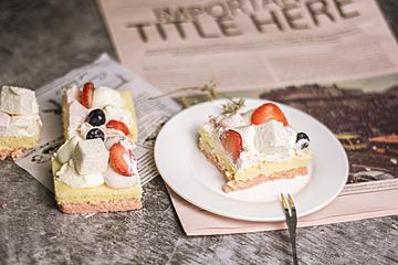 dessert strawberry cake on white dish