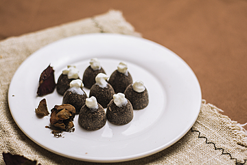 creamy truffle chocolate closeup on white dish