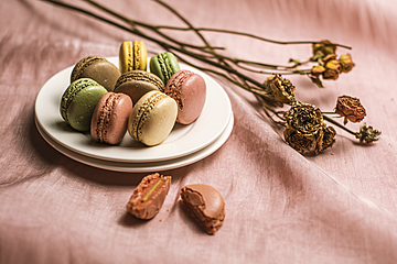 delicious dessert macaron on white dish