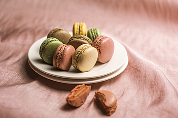 macarons erected on white dish