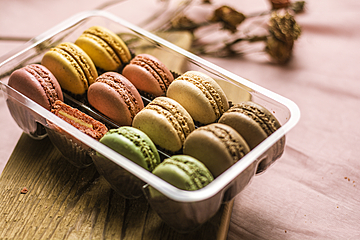 macarons in a plastic box