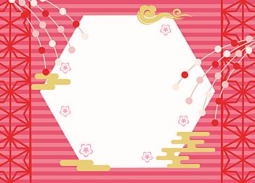 petal background hexagon japanese style peach blossom festival background