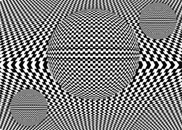 black and white striped sphere optical misalignment background