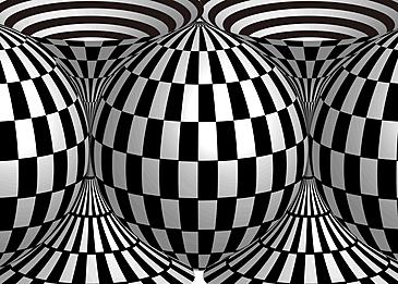 three dimensional sphere grid visual effect black and white