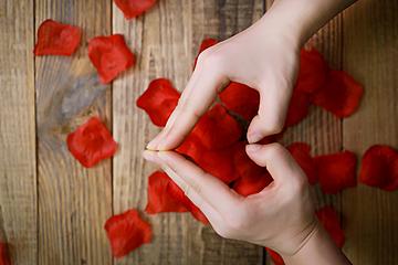 gesture love rose petals valentine background