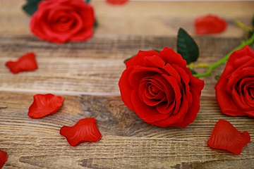 red rose flower placed on wooden board