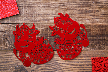 red year of the ox blessing paper cut