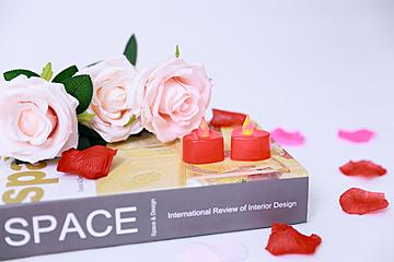 romantic valentines day rose petals background