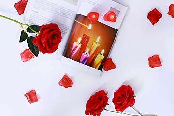 valentines day background with red rose flower and book