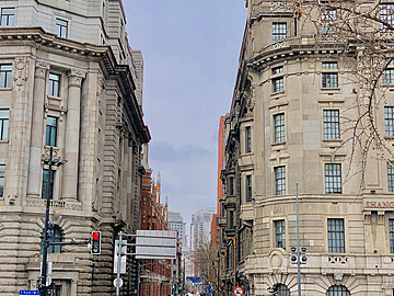 architecture at the entrance of the european style alley in the city