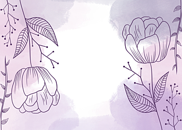 purple watercolor flowers and leaves background