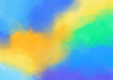 bright and colorful orange yellow green blue watercolor smudge background