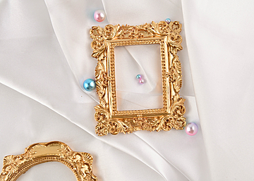 pearl square round photo frame on white background