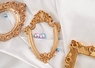 three photo frames pearls on white background