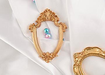 white background pearl shaped shaped photo frame