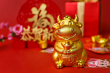 chinese new year golden bull background map
