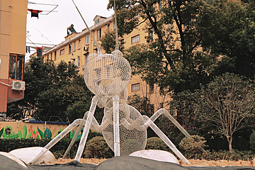 large ant stainless steel sculpture