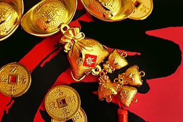 spring festival lucky bag gold ingot background map