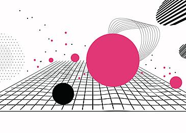 simple red black line dot geometric black line