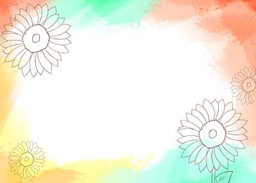watercolor blooming flowers and leaves pastel