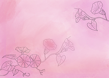 watercolor morning glory pastel flower leaf background