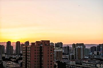 calm city at sunrise