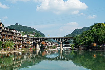 clear river and bridges in fenghuang ancient town