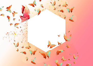 colorful butterfly pink gradient beautiful border background