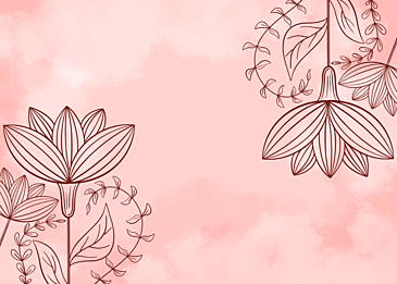 pink watercolor plant line background