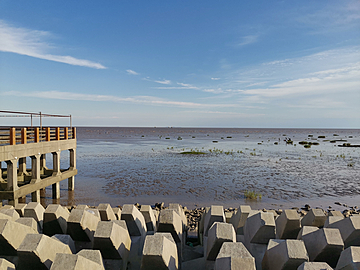 square breakwater by the sea