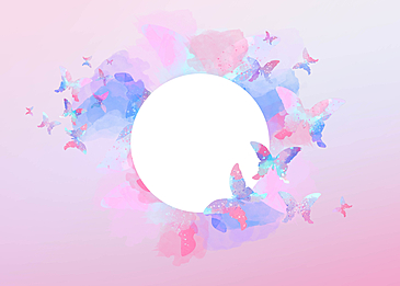 watercolor beautiful butterfly pink gradient border background
