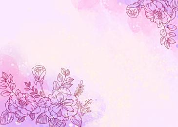 watercolor blooming flowers leaf veins