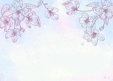 watercolor spring flowers leaf veins background