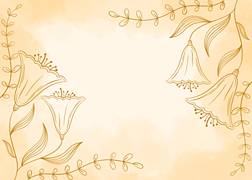 yellow watercolor plant line background