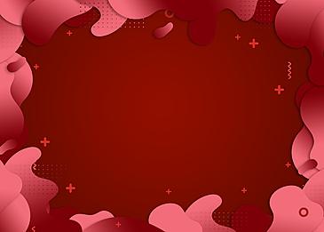 red creative gradient irregular paper cut border background