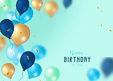birthday blue gradient balloon three dimensional