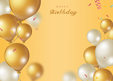 golden gradient texture birthday balloons
