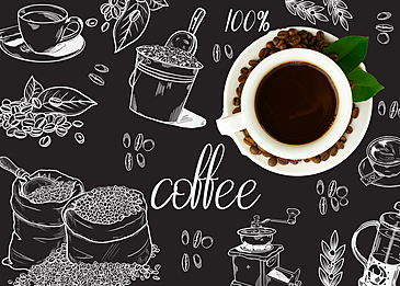 lineart coffee bean coffee machine coffee cup