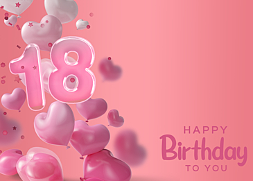 pink balloon three dimensional birthday