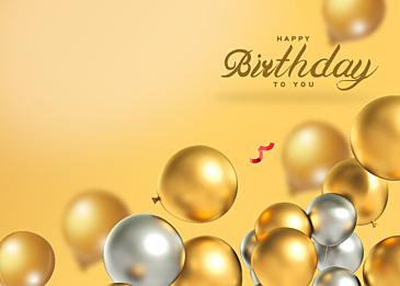 balloon gradient birthday three dimensional