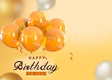 birthday balloon yellow gradient