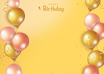 birthday gradient yellow balloon three dimensional