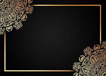 black gold gradient mandala pattern border background