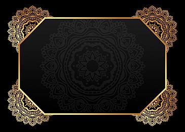 black gold gradient mandala symmetrical shading background