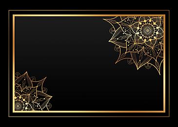 black gold mandala classical wireframe background