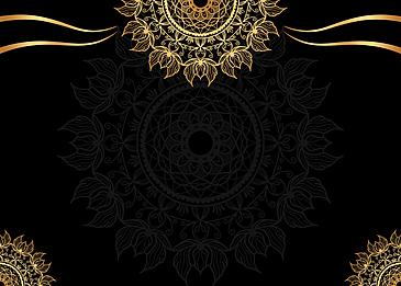 black gold mandala floral print background